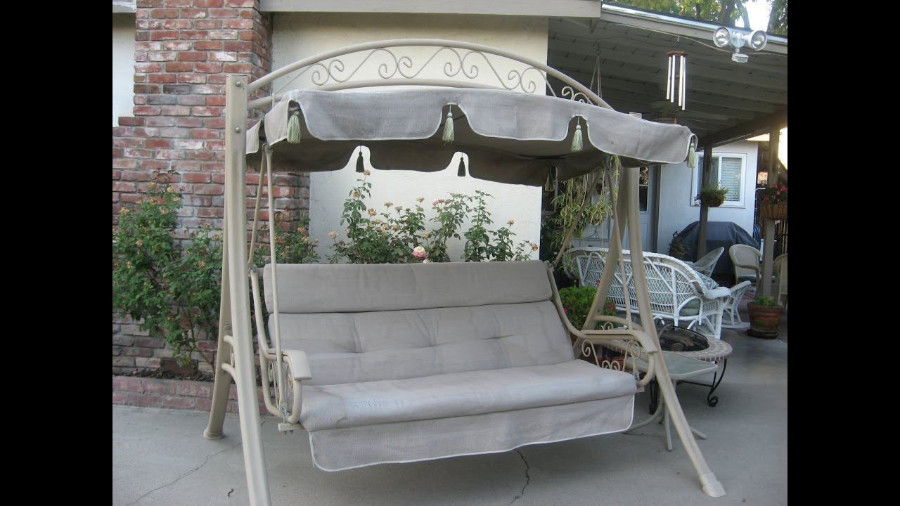 Costco Patio Swing Cushions Seat Support and Canopy Fabric Replacement  YouTube