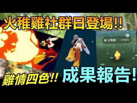 【精靈寶可夢GO】POKEMON GO|火稚雞社群日登場!雞情四色後成果報告!