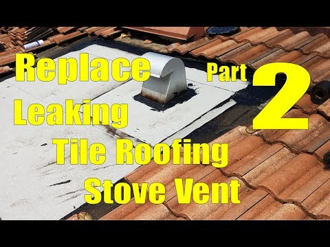 Replace Leaking Tile Roofing Stove Vent 2 - Install Cap Sheet Underlayment and Vent