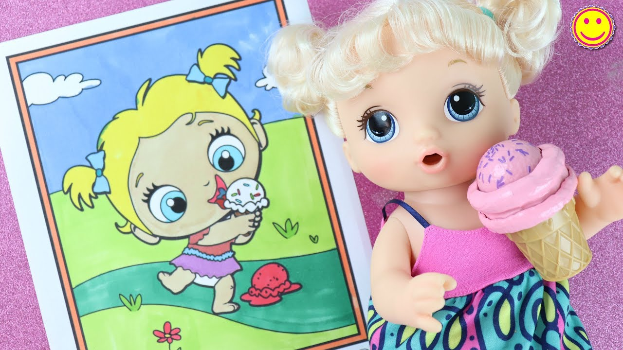 - Painting Baby Alive Doll 💜Coloring Pages And Toys For Children