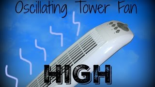 Oscillating tower fan on high. For Sleeping, Relaxing. 1 Hour.