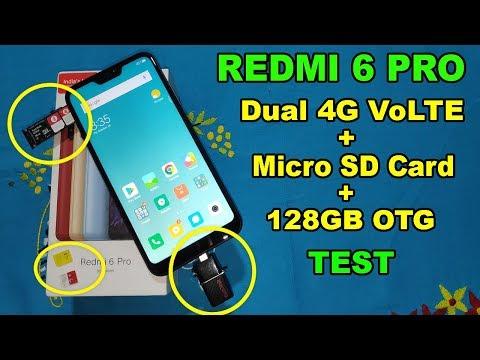 Redmi 6 Pro Dual 4G VoLTE + Micro SD Card + 128GB OTG Test - Dual Jio Sim, Vodafone 4G, Idea