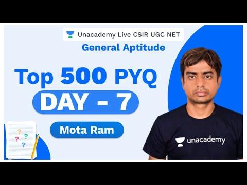 Top 500 PYQ | Day - 8| General Aptitude | CSIR 2020 | Mota Ram | Unacademy