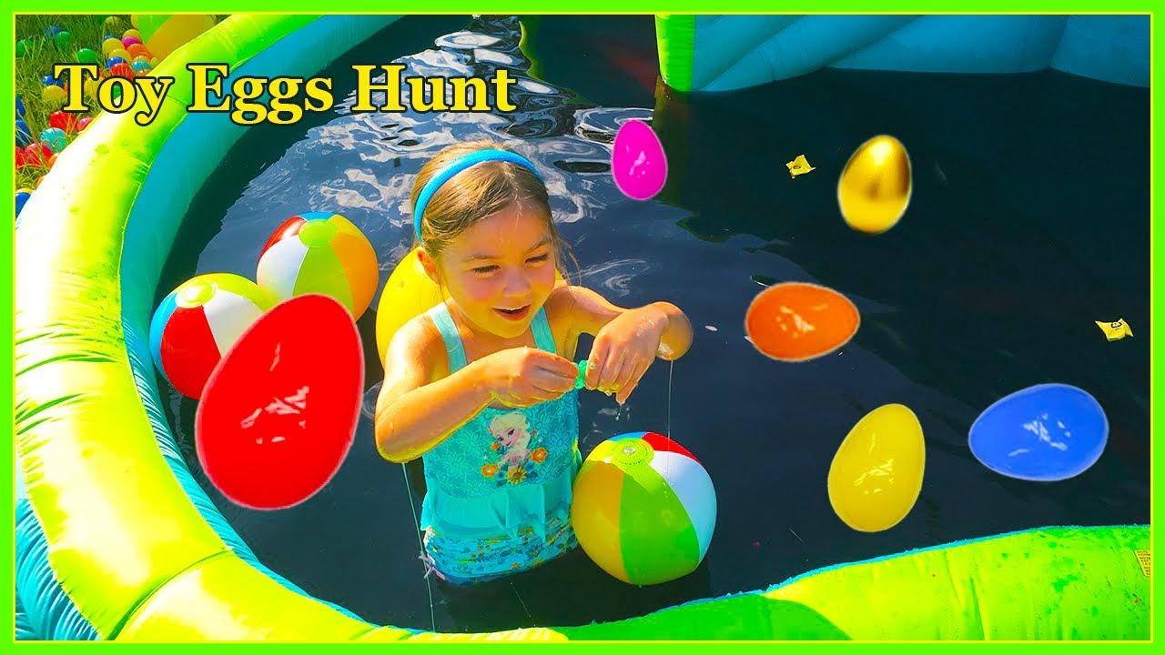 Slime Baff Huge Egg Surprise Toys Hunt On Giant Inflatable