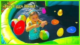 Slime Baff Huge Egg Surprise Toys Hunt on Giant Inflatable Water Slide