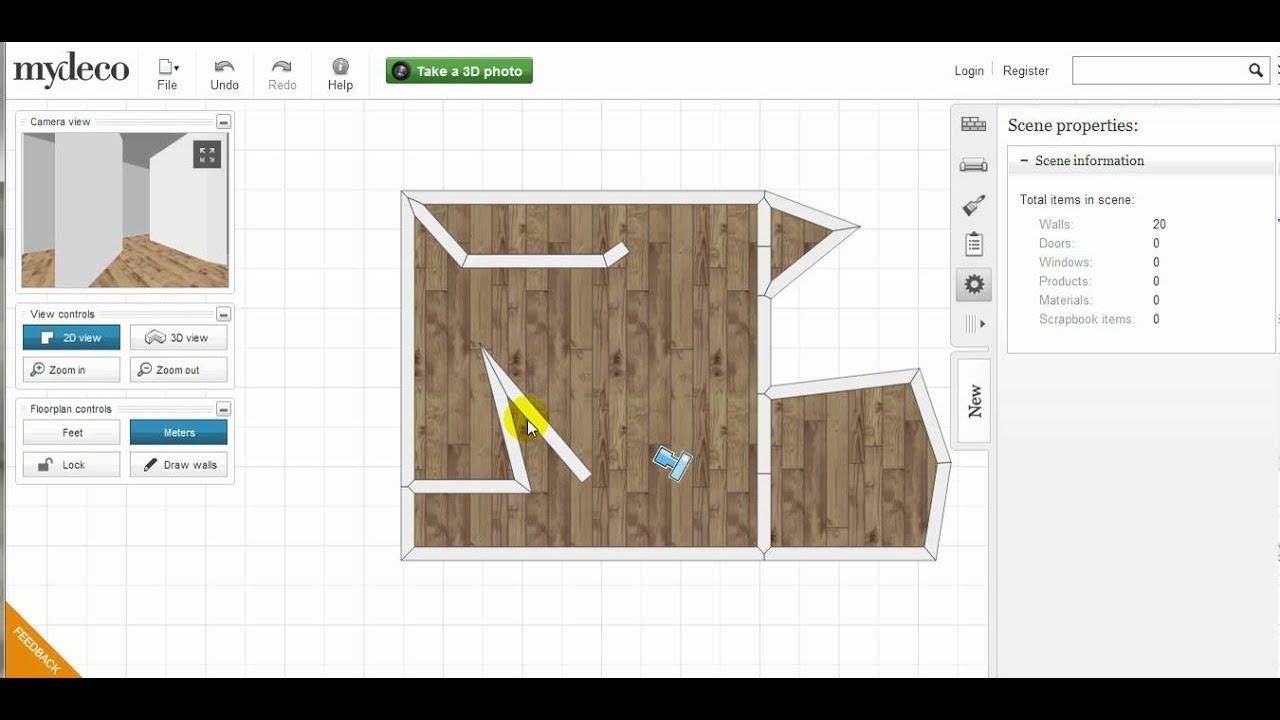 mydeco 3d room tutorial how to add split resize delete walls youtube. Black Bedroom Furniture Sets. Home Design Ideas