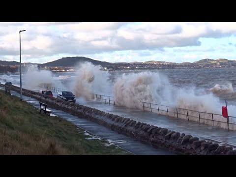 Rough Sea & Waves Colwyn Bay Promenade Wales UK New Years Day 2017 4