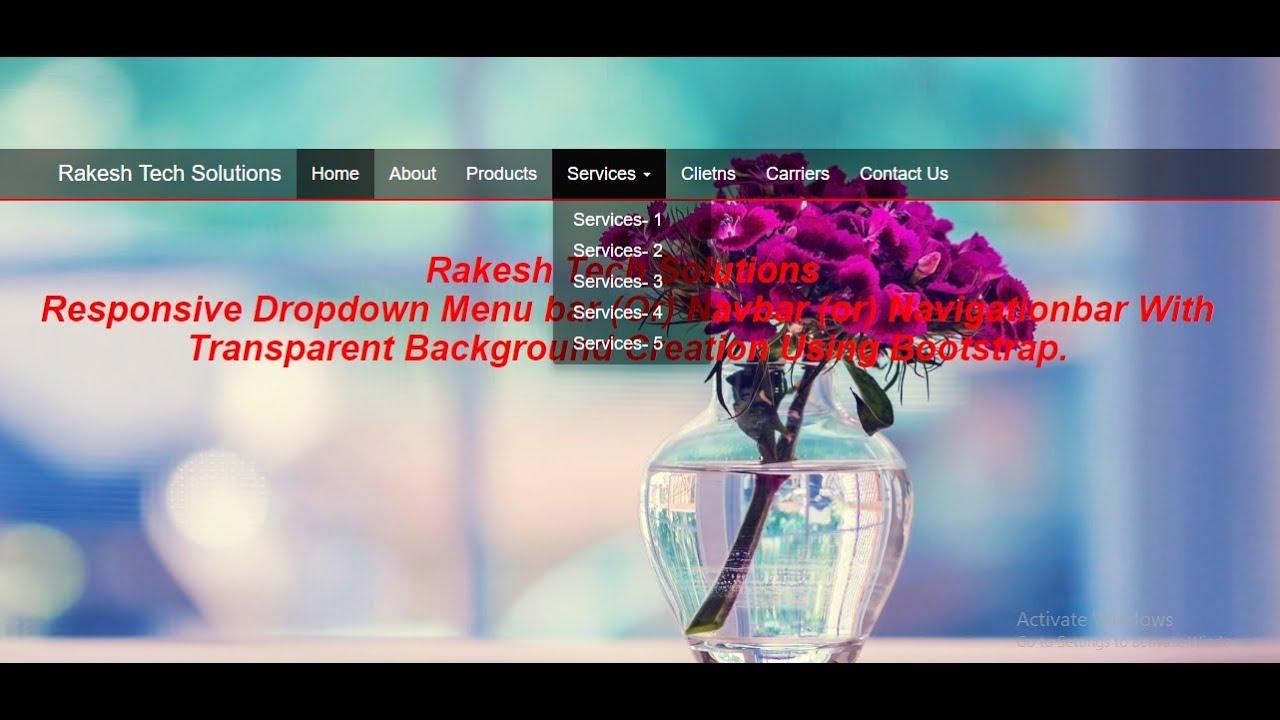 Responsive Dropdown Menubar With Transparent Background