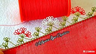 Kırmızı düz yazmaya çıtı pıtı kolay ve güzel iğne oyası modeli