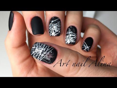 Как делать паутинку на ногтях