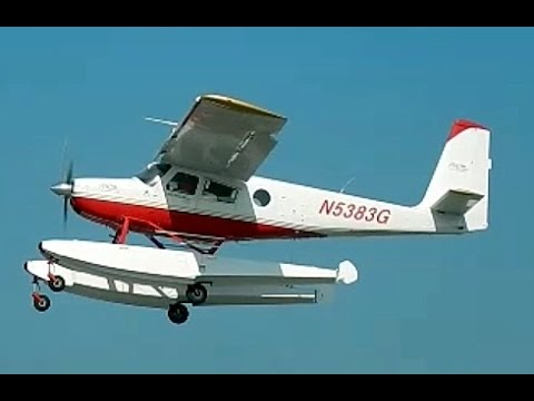 GoPro Ocean Landing at Long Beach Harbor in Helio Courier H-295 Seaplane , Queen Mary