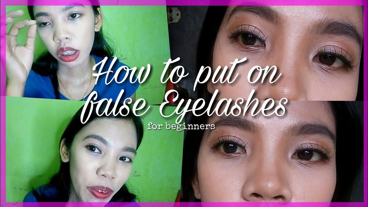 How to put on false eyelashes for beginners - YouTube