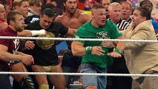 John Cena and Brock Lesnar get into a brawl that clears the entire locker room: Raw, April 9, 2012 thumbnail