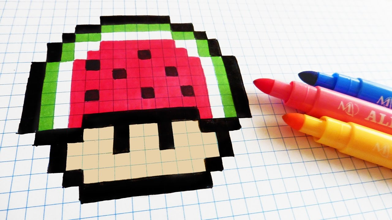 Handmade Pixel Art How To Draw Watermelon Mushroom Pixelart