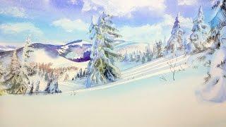 Зимний пейзаж - рисуем акварелью. Подробный разбор.
