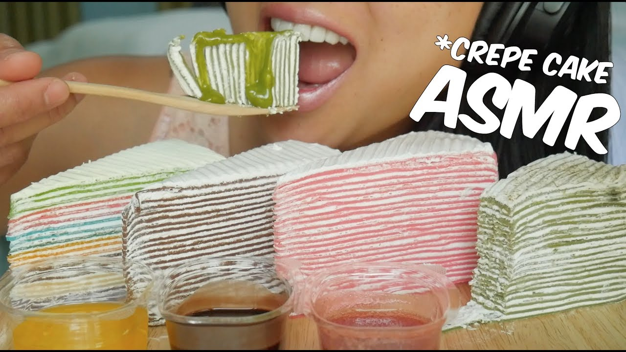 Asmr Crepe Cake Rainbow Strawberry Green Tea Choco No Talking Sticky Eating Sounds Sas Asmr
