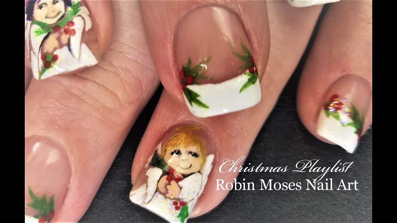 Christmas Angel Nails Cherub Nail Art Design Tutorial Beauty Levels