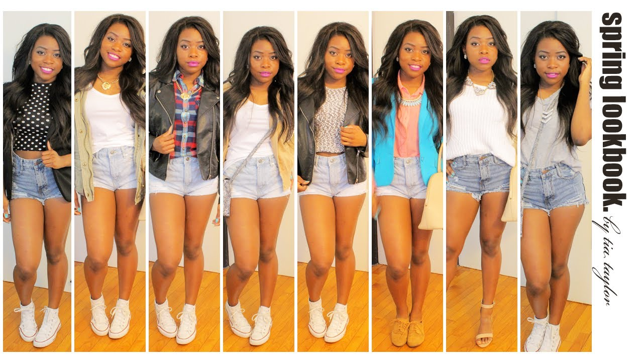 High waisted denim shorts lookbook