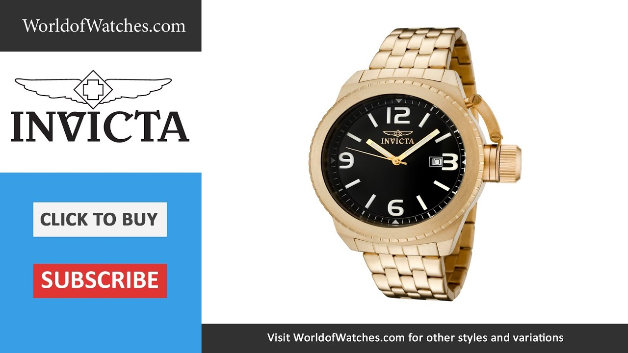 112c7810794 INVICTA Corduba Black Dial 18k Gold Plated Stainless Steel 0991 ...