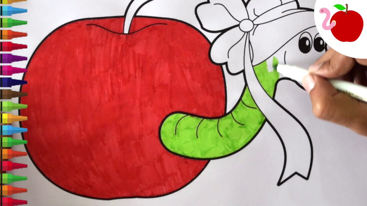 how to draw apple and the worm coloring pages for kids