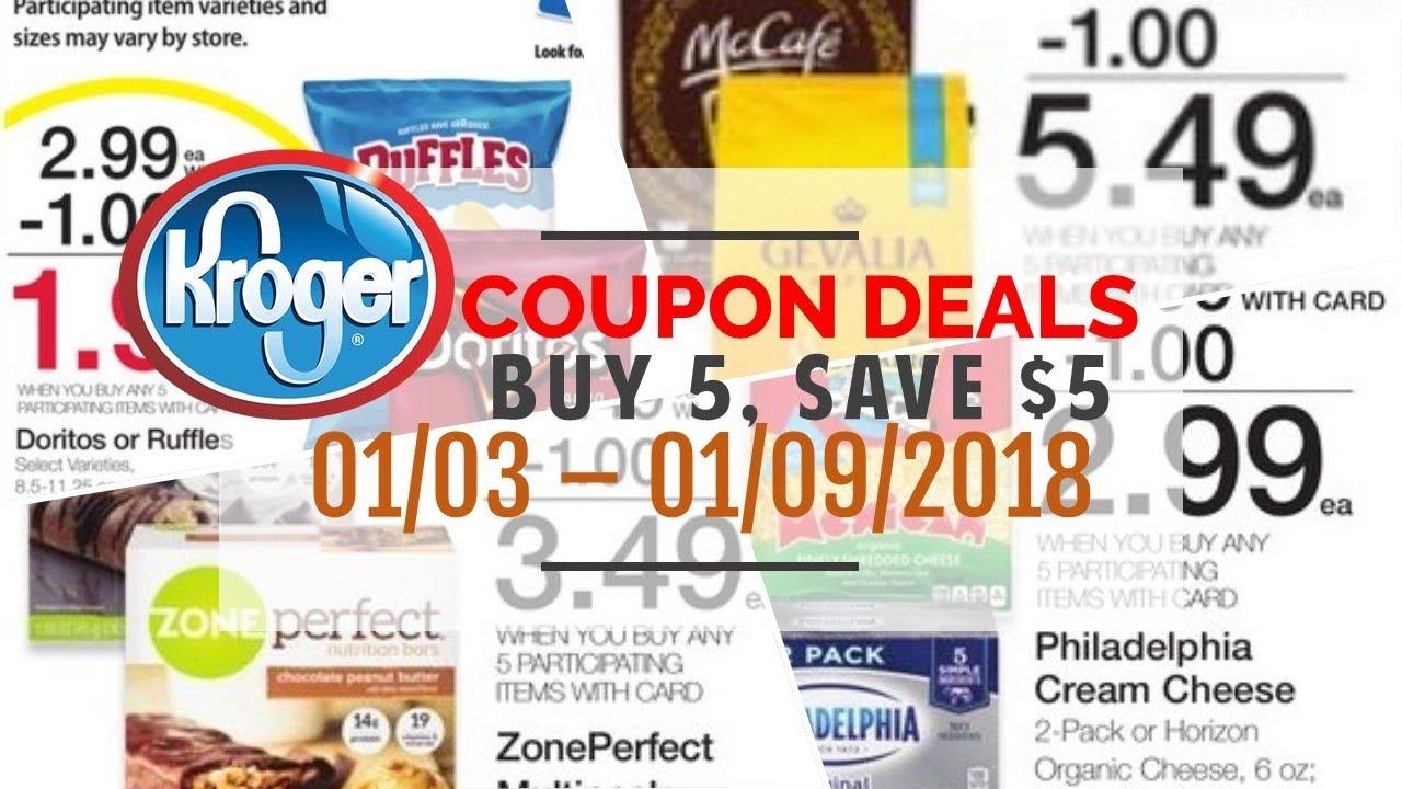 157833199 Kroger Mix & Match Buy 5, Save $5 Deals January 3 - 9, 2018