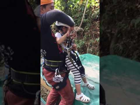 Thailand zip lining 3 year old girl sooo brace