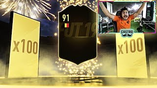 100 x 2 PLAYER PACKS! 91 RATED IN A PACK! FIFA 19