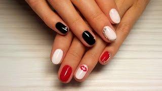 Дизайн ногтей гель-лак shellac - Дизайн стразами + роспись (видео уроки дизайна ногтей)