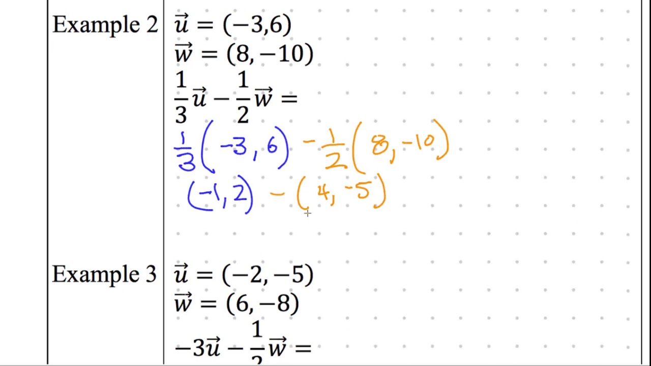 Precalculus notes 3-5 Combined Vector Operations
