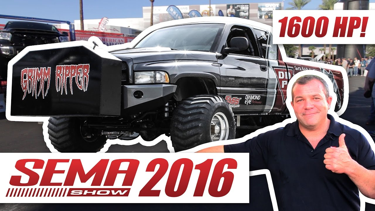 Grim Ripper: 1600hp Diesel Sled Pull Truck Build Interview - SEMA Show 2016