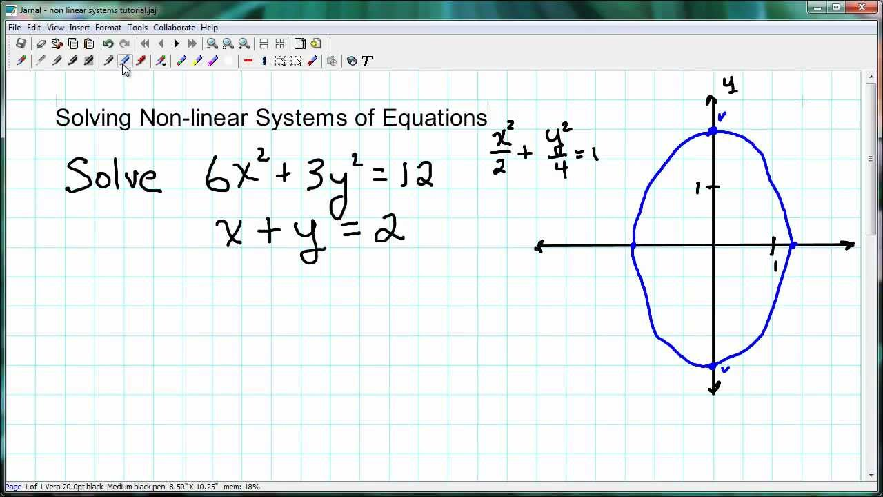 Solving NonLinear Systems of Equations YouTube – Systems of Nonlinear Equations Worksheet