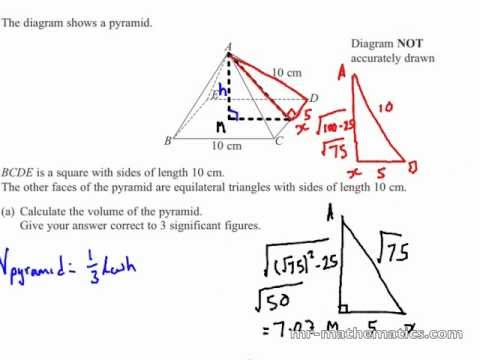 Volume Of A Pyramid 3d Pythagoras Math Revision Youtube