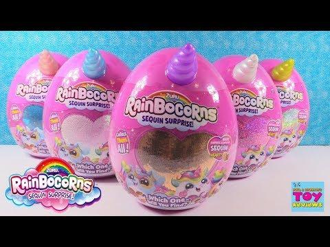 Rainbocorns Sequin Surprise Plush Surprise Eggs Unboxing Toy Review | PSToyReviews