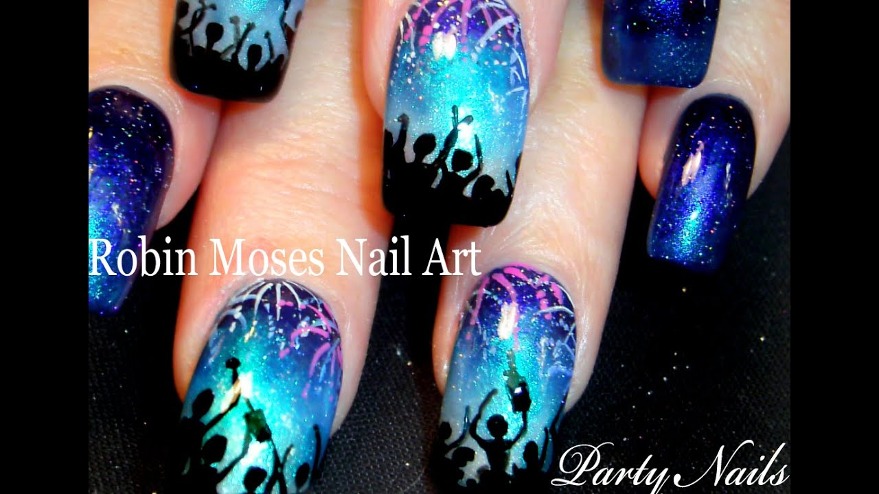 Nail Art Tutorial | New Years Eve FIREWORKS Nails | NYE Party nail ...