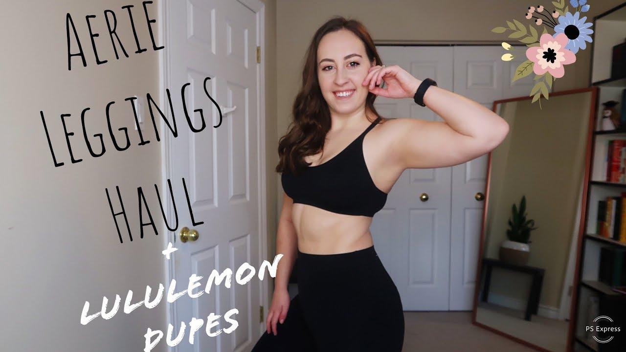 Aerie Leggings Haul And Lululemon Dupes Shipping To Canada Youtube