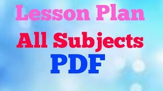 All subjects lesson plan PDF