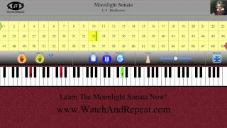 Learn How To Play Moonlight Sonata (piano tutorial with fingering)