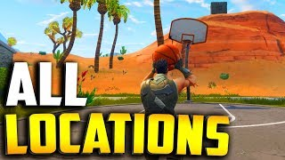 """ALL BASKETBALL COURT LOCATIONS in Fortnite """"score a basket on different hoops"""" All Locations!"""
