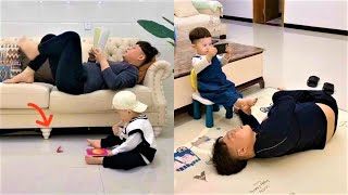 Funny videos 2020 - 2 father and son are lovely and humorous 2