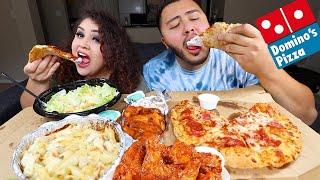 Huge Dominos Pizza & Wings Feast MUKBANG