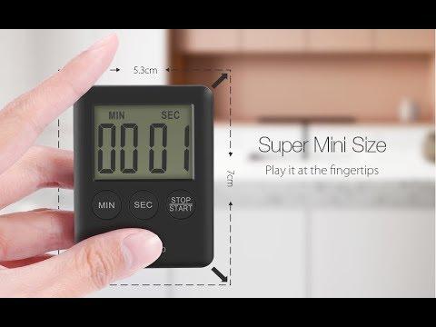 Digoo Mini LCD Display Electric Digital Kitchen Timer Alarm Magnetic ...