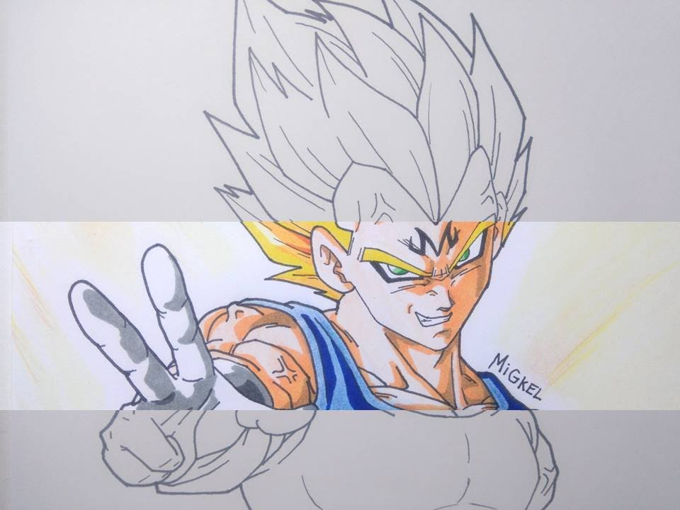 Dibujando a MAJIN VEGETA. Speed drawing Majin Vegeta - YouTube