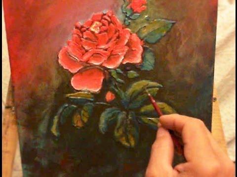 Dipingere a spatola con stencil rosa scarlatta youtube for Quadri con rose rosse