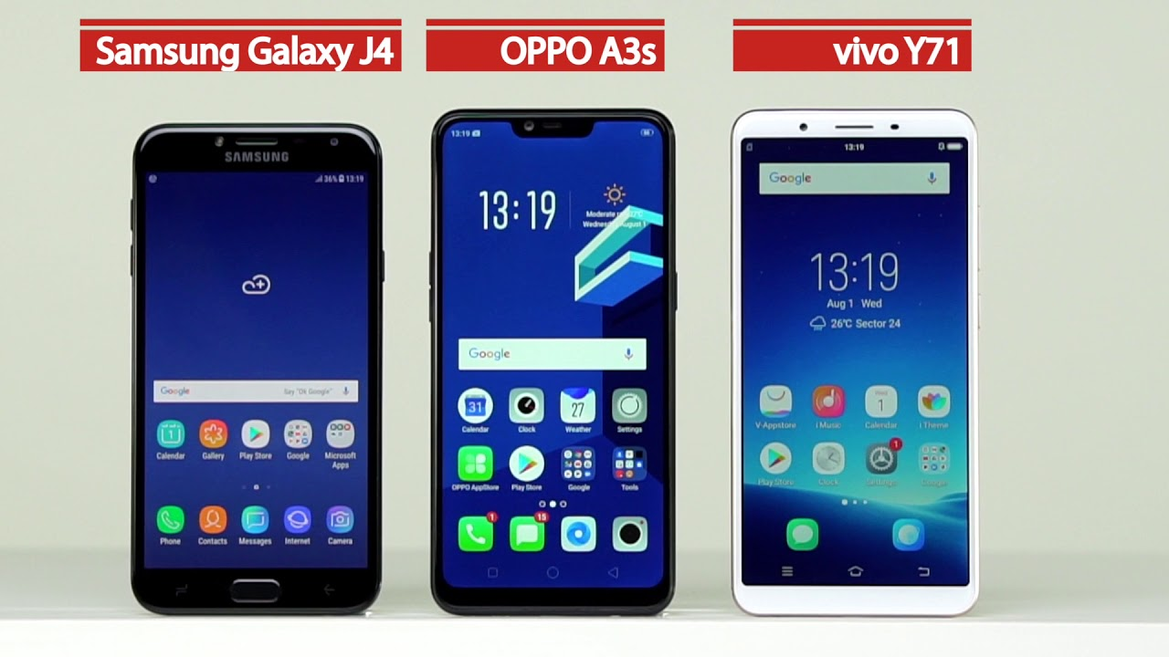 Oppo A3s Vs Samsung Galaxy J4 Vs Vivo Y71 Comparison Youtube