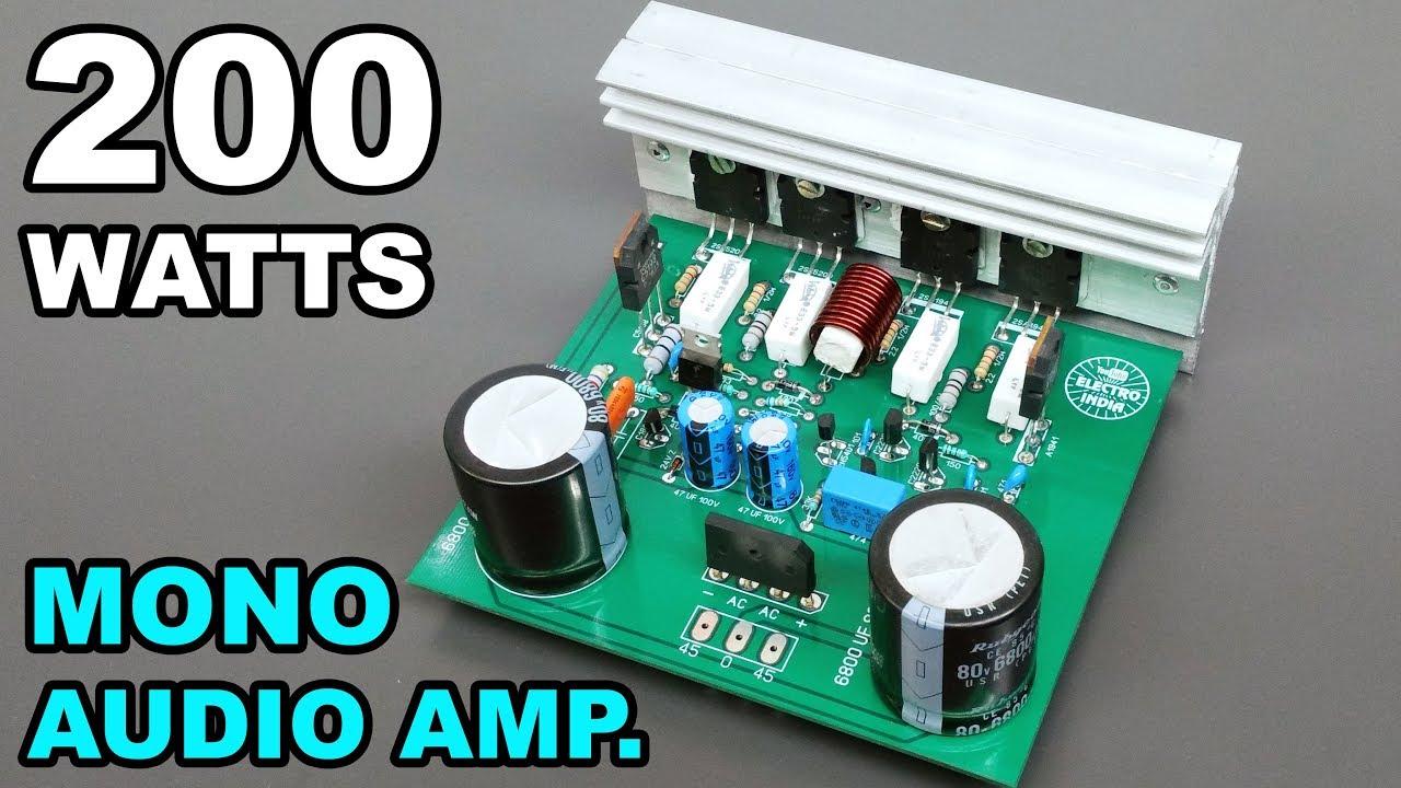 200 watts mono audio amplifier board diy 2sc5200 2sa1943 transistor hindi electronics electro india [ 1280 x 720 Pixel ]