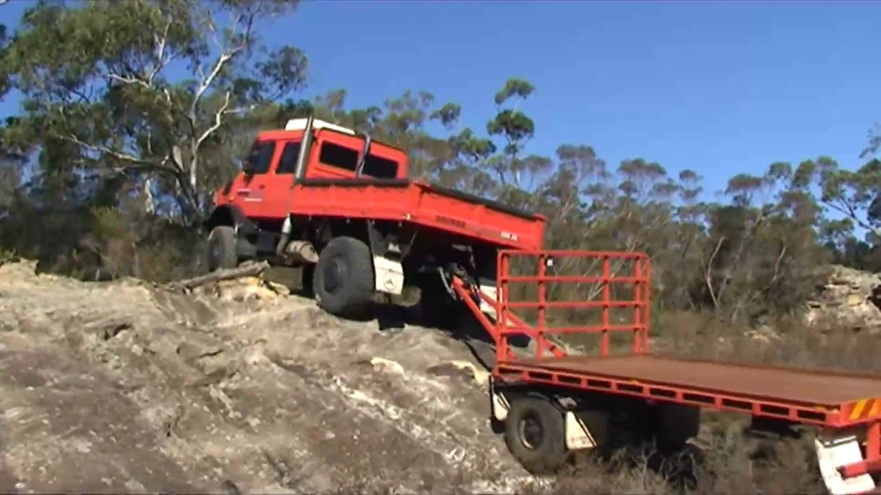 Unimog And Trailer Rock Climbing In Southern Highlands