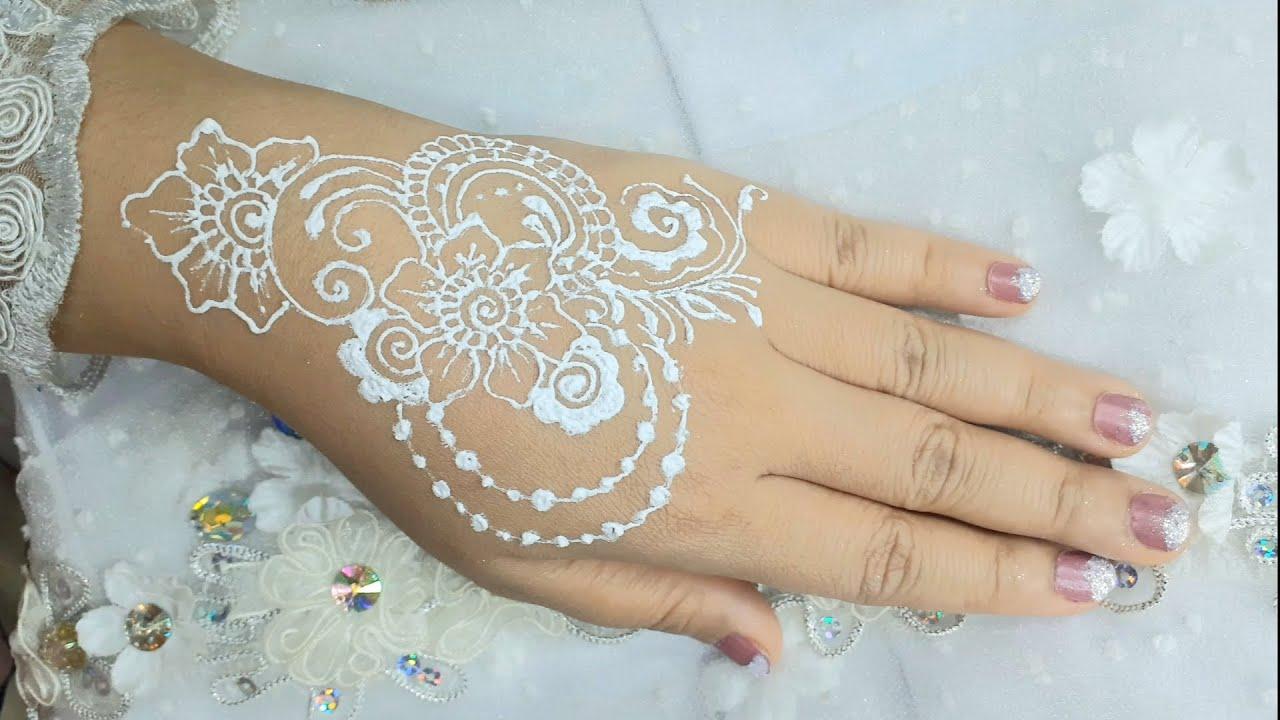 Latihan Henna Putih Motif Bunga Mudah Simpel Simple Henna White Henna Youtube