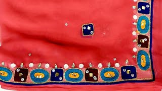 Day!! How to apply velvet cutting work on dupatta!! Kundan work apply on odni and saree!!