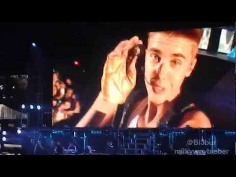 Justin filming himself doing a kissy face & saying 'I love you' BELIEVE TOUR DUBLIN
