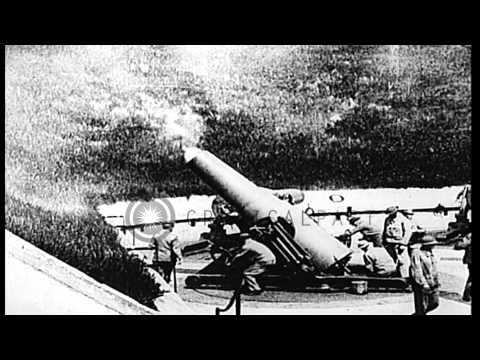 Guns at Fort Scott, The Presidio, are fired to test coastal defenses during World...HD Stock Footage
